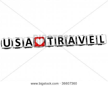 3D Usa Love Travel Button Click Here Block Text