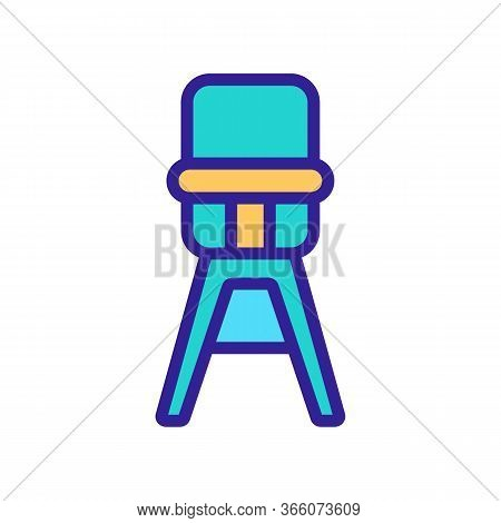 High Classic Feeding Chair Icon Vector. High Classic Feeding Chair Sign. Color Symbol Illustration