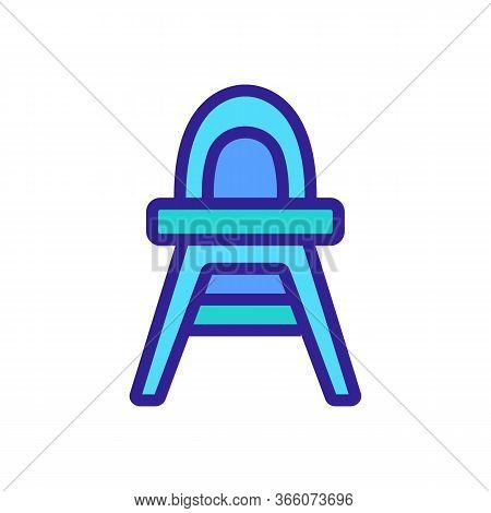 Plastic Feeding Chair With Rounded Back Icon Vector. Plastic Feeding Chair With Rounded Back Sign. C