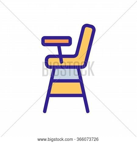 Wooden Feeding Chair With Worktop Icon Vector. Wooden Feeding Chair With Worktop Sign. Color Symbol