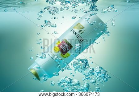 Portugal Faro, May 5, 2020 - Shampoo Conditioner, From The Company Panten Underwater In An Aquarium,