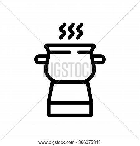Boiling Pot Fondue Icon Vector. Boiling Pot Fondue Sign. Isolated Contour Symbol Illustration