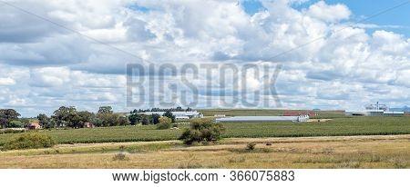 Fouriesburg, South Africa - March 18, 2020: Panorama Of The Bloukruin Landgoed Manitoba Egg Farm Nea