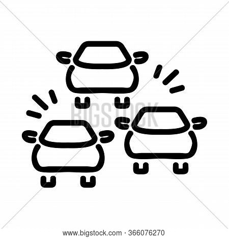 Car Signals In Traffic Jam Icon Vector. Car Signals In Traffic Jam Sign. Isolated Contour Symbol Ill