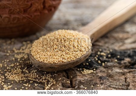 Raw Organic Amaranth Grain In A Bowl Witn Wooden Spoon And Amaranth Plant On Rustic Wooden Backgroun