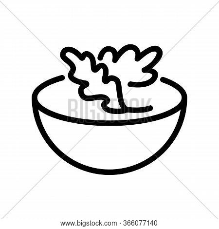 Arugula In Salad Bowl Icon Vector. Arugula In Salad Bowl Sign. Isolated Contour Symbol Illustration