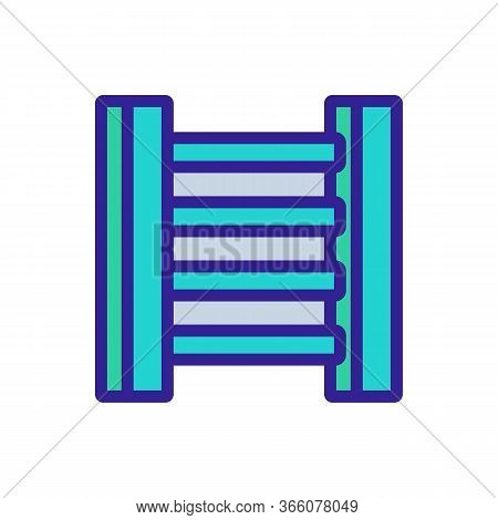 Heated Ladder With Two Vertical Tubes Icon Vector. Heated Ladder With Two Vertical Tubes Sign. Color