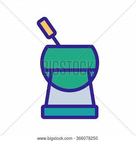 Fondue With Steady Leg And Skewer Icon Vector. Fondue With Steady Leg And Skewer Sign. Color Symbol