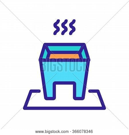Hot Fondue With Steady Legs Icon Vector. Hot Fondue With Steady Legs Sign. Color Symbol Illustration