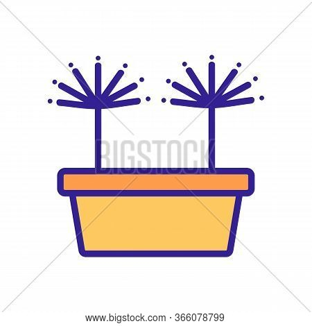 Sprouted Dill In Pot Icon Vector. Sprouted Dill In Pot Sign. Color Symbol Illustration