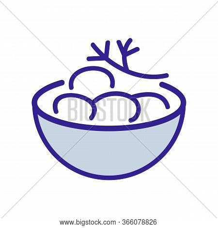 Bowl Of Potatoes With Dill Icon Vector. Bowl Of Potatoes With Dill Sign. Color Symbol Illustration