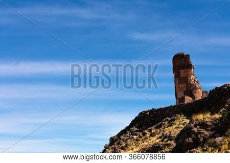 Ancient Tomb Of Indigenous People Called Sillustani In Puno, Southern Peru. Two
