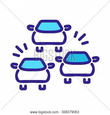 Car Signals In Traffic Jam Icon Vector. Car Signals In Traffic Jam Sign. Color Symbol Illustration
