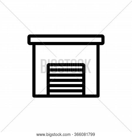 Barn With Mechanical Door Icon Vector. Barn With Mechanical Door Sign. Isolated Contour Symbol Illus