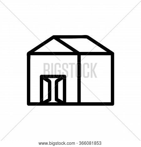 Garage With Open Doors Icon Vector. Garage With Open Doors Sign. Isolated Contour Symbol Illustratio