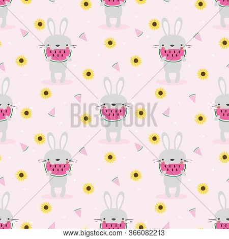 Bunny And Watermelon Seamless Pattern. Cute Animal In Summer Concept.