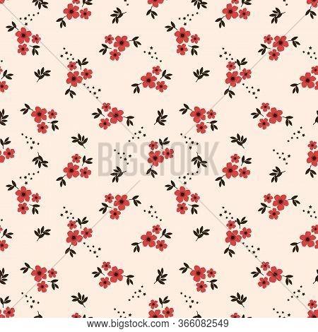 Tiny Red Flower Seamless Pattern. Lovely Tiny Flower
