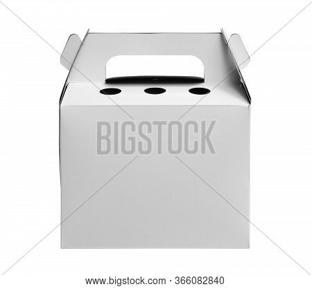 Paper Bakery Box With Handle (included Clipping Path) Isolated On White Background