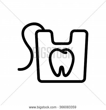 Dental Floss In Box Icon Vector. Dental Floss In Box Sign. Isolated Contour Symbol Illustration