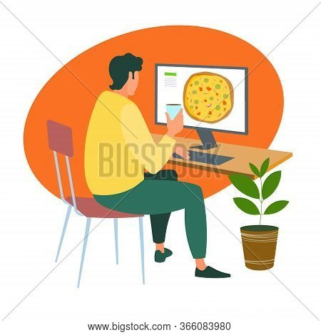 A Man Orders A Pizza Online From A Computer During The Quarantine