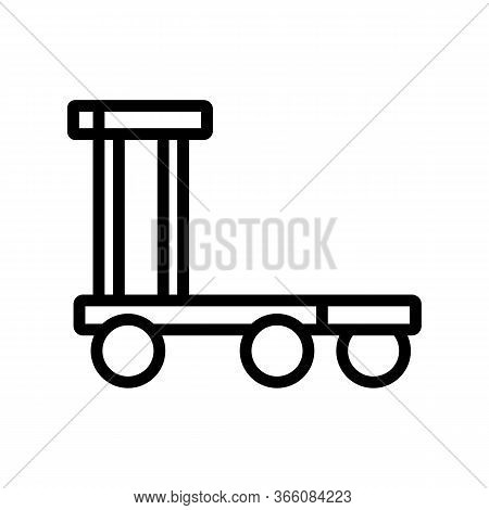 Overall Platform Wheel Trolley Icon Vector. Overall Platform Wheel Trolley Sign. Isolated Contour Sy