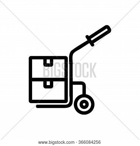 One Wheeled Trolley With Handle And With Suitcases Icon Vector. One Wheeled Trolley With Handle And