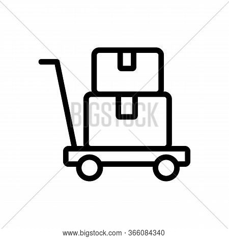 Platform Trolley With Things Icon Vector. Platform Trolley With Things Sign. Isolated Contour Symbol