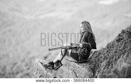 Hunting Season. Hunter Mountains Landscape Background. Sexy Warrior. Woman Attractive Long Hair Pret