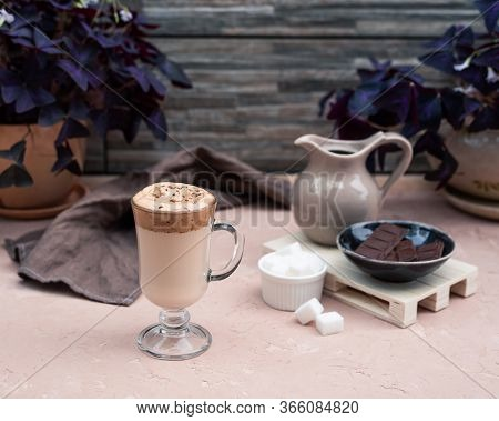 A Popular Korean Drink During Self-isolation Is Dalgona Coffee. A Delicious Modern Cold Beverage Wit