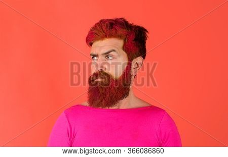Hipster With Pink Hair. Man With Creative Painting Hair And Hairstyle. Advertising And Barber Shop C