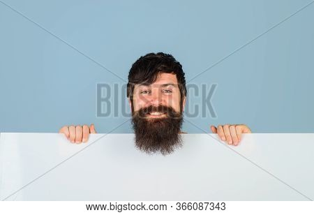 Copy Space. Advertising. Bearded Man With Blank Board. Space For Text. Smiling Man Holds Empty Board