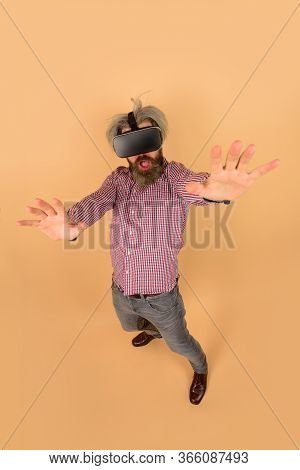 Vr. Man In Virtual Reality Headset. Copy Space. Future. Future Technology Concept. Men Use Vr Headse