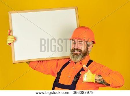 Visual Outline. Troubleshoot Concept. Bearded Man Repairman Builder. Plan Repair Works. Repairman Ho