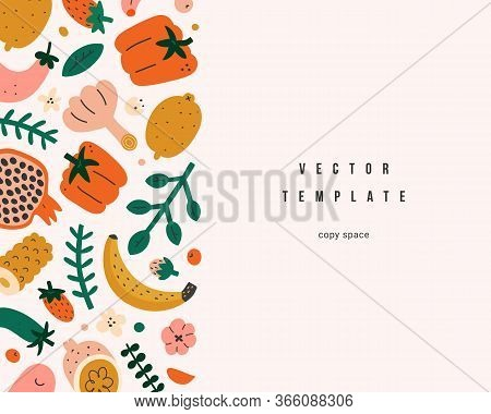 Organic Foods Frame Template, Vector Layout With Copy Space, Cute Naive Handdrawn Fruits And Vegetab
