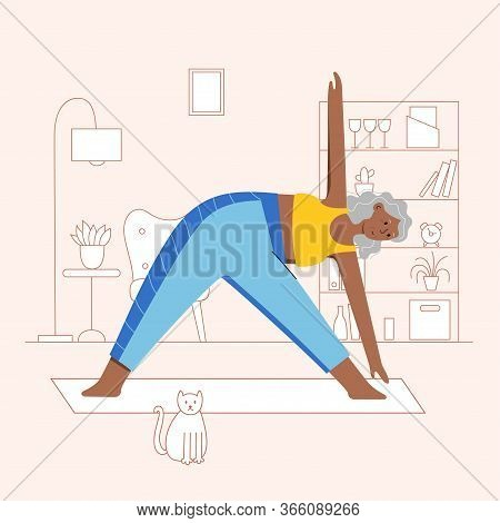 Happy Afro Female Senior Performs Yoga Exercise At Home. Old Or Mature Woman Cartoon Isolated Charac