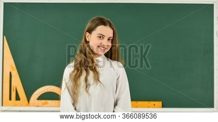 Girl In School Classroom Copy Space. School Project. Learn Language. Clever Teenager Student. Educat