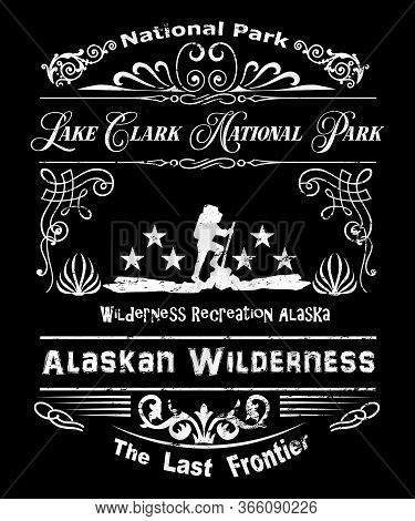 Lake Clark National Park Alaska Part Of The Alaskan Wilderness, The Last Frontier With A Hiker On Th
