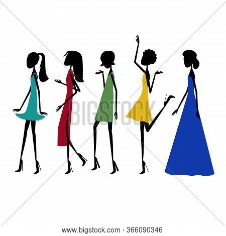 Black Silhouettes Of Models On The Catwalk In Dresses Of Different Styles And Color. Vector