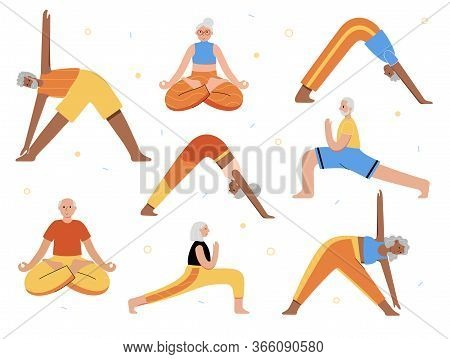 Set Of Happy Couples Of Seniors Performs Yoga Exercises. Old Or Mature Male And Female Cartoon Isola