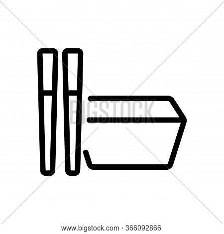 Rectangular Food Container With Cutlery Icon Vector. Rectangular Food Container With Cutlery Sign. I