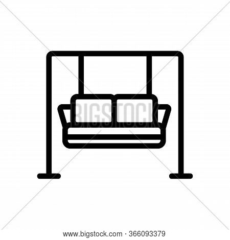 Hanging Sofa With Pillows Icon Vector. Hanging Sofa With Pillows Sign. Isolated Contour Symbol Illus