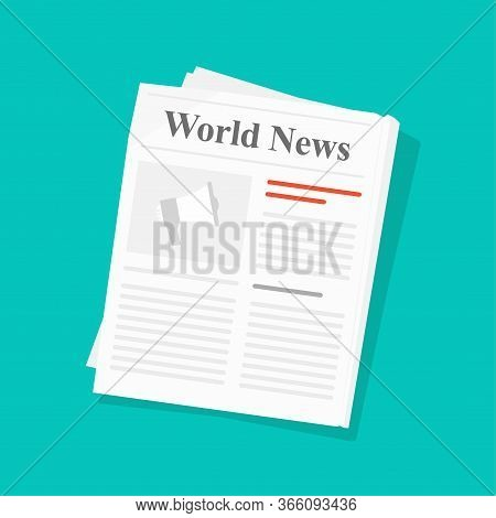 Newspaper Or Daily Press News Paper Folded Magazine Vector Flat Illustration Isolated On Color Backg