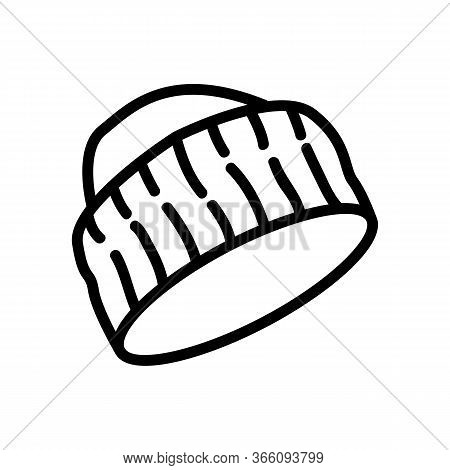 Cap With Wide Knitted Visor Icon Vector. Cap With Wide Knitted Visor Sign. Isolated Contour Symbol I