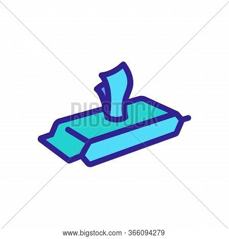 Pack Of Wet Wipes View At Angle Icon Vector. Pack Of Wet Wipes View At Angle Sign. Color Symbol Illu