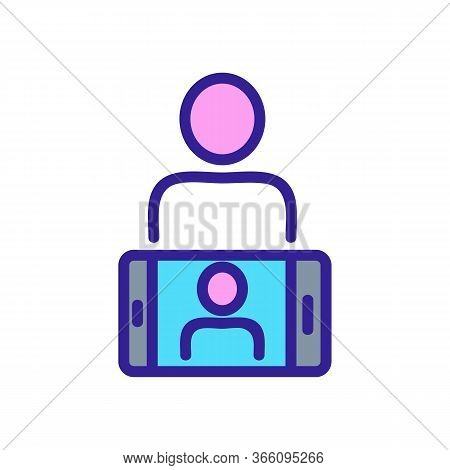 Take Photo Of Person On Rear Camera Of Phone Icon Vector. Take Photo Of Person On Rear Camera Of Pho