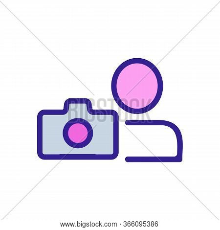 Camera Snapshot Of Man Icon Vector. Camera Snapshot Of Man Sign. Color Symbol Illustration