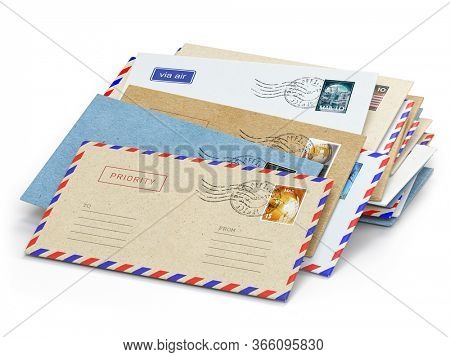 Stack of paper letters with stamps isolated on white background. 3d illustration