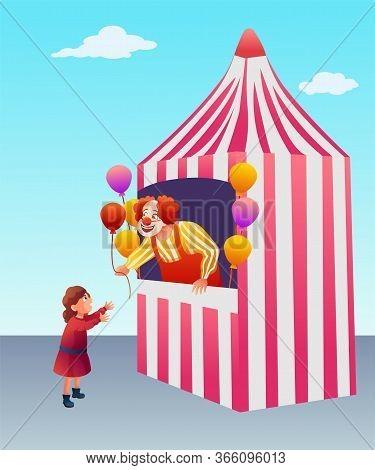 Fair Tent With Clown Flat Vector Illustration. Little Girl Buying Balloons Cartoon Character. Carniv