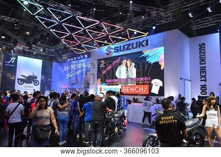 Pasay, Ph - Mar 24 - Suzuki Motorcycle Sign And Booth At Inside Racing Motor Bike Festival And Trade