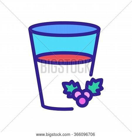 Half Full Glass Of Hawthorn Juice Icon Vector. Half Full Glass Of Hawthorn Juice Sign. Color Symbol